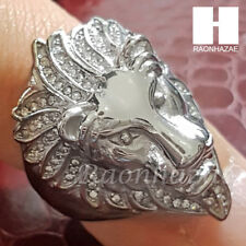 MENS 316L STAINLESS STEEL LION KING FACE GOLD SILVER TONE RING 8-12 SG036