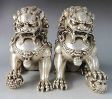 """9.8""""Chinese Silver Bronze Fu Foo Dog Guardian lion Statue Pair"""
