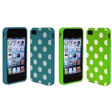 Baby Blue + Green White Polka Dot TPU Rubber Skin Case for Apple iPhone 4 4S 4G