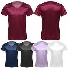 Mens Sexy V Neck Short Sleeve Satin Pyjamas Pajamas Tops Loungewear Sleepwear