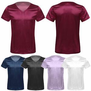 Men's Silk Satin Pajamas V Neck Short Sleeve Satin T-Shirt Loose Tops Sleepwear