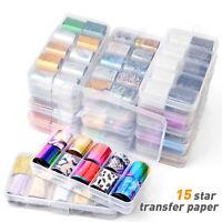 10 Rolls Nail Foils Starry Sky Stickers Nail Art Laser Transfer Manicure Glue