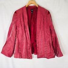 Eileen Fisher Open Front Jacket Pink Metallic Linen Silk Lagenlook Blazer XL