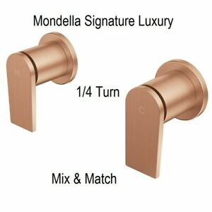 Mondella Bath Shower Wall Top Assembly 1/4 Turn Tap Brushed Rose Gold Tapware