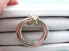 Tiffany & Co Signature X Kiss Circle Brooch Pin 18K Gold & Sterling Silver RARE