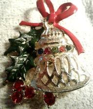 pretty christmas multi colored rhinestone gold tone bell brooch by beatrix