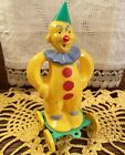 Vintage Halloween Easter Hard Plastic Clown Pull Toy Candy Container Rosbro 50s!