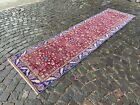 %100 wool Turkish vintage rug, Handmade carpet, Boho decor | 2,8 x 7,7 ft