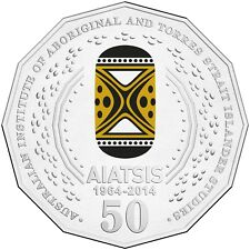 2014 Australia 50th Anniversary of AIATSIS 50c Coloured Unc Coin
