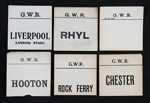 group of 12 GWR luggage labels inc Rhyl, Liverpool, Chester, Rock Ferry, Hooton