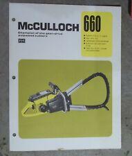 Vintage McCulloch Chainsaw 660 sales flyer lightweight gear drive pulpwood Specs