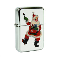 Refillable Oil Windproof Flip Top Lighter Santa Claus Train Retro Vintage