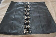 Easy Rider buckle front Sexy Leather Motorcycle Skirt SZ L    #612