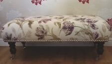 A Quality Long Footstool In Laura Ashley Gosford Plum Fabric