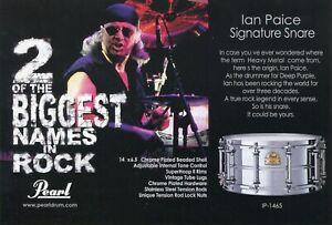 2002 small Print Ad of Pearl Ian Paice Signature Snare Drum Deep Purple