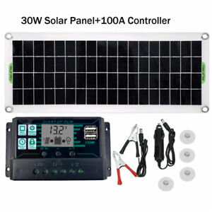 30W Portable Solar Panel 12V for Car Van Boat Caravan Camper Battery Charger