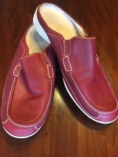 EUC Timberland Size 11 Leather Slip On Mules Red Wine Color Mesh