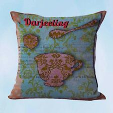 US Seller- Darjeeling teacup shabby chic cushion cover decorating interiors