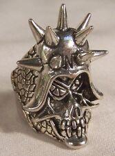 SKULL SPIKED HELMET BIKER RING BR22 HEAVY silver NEW skeleton jewelry unisex new
