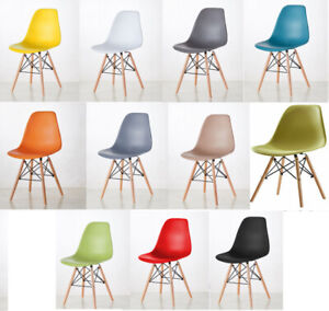 Set of 1 Dining  Chairs Retro Wooden Legs Office Kitchen Lounge Chair