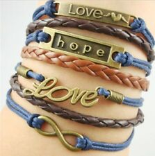 NEW Infinity Love Hope Infinity Blue Brown Leather Charm Pendant Bracelet-d9