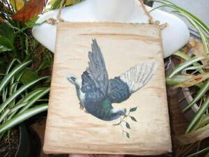JD- 1884 VICTORIAN WALL HANGING ART ON SILK BIRD IN FLIGHT as found fragile