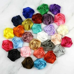 "1.5"" 10/25/50Pcs Satin Ribbon Small Rose Flowers Crafts DIY Wedding Appliques"