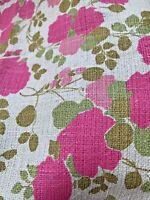 "Linen Floral Flowers Pinks Greens Cream 3 Yds 44"" Beautiful"