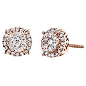 14K Rose Gold Cluster Round Diamond 4 Prong Flower Halo Stud Earrings 1/2 CT.
