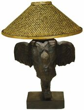 Elefantenlampe , Tischlampe aus Elefantenkopf , Holz , 50 cm hoch , Afrikalampe