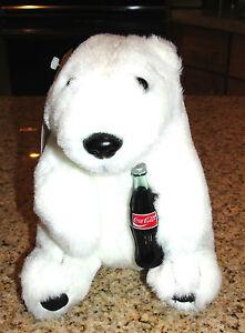 ALWAYS COCA-COLA BRAND PLUSH COLLECTION POLAR BEAR WITH BOTTLE 1993 L@@K