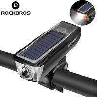 Rockbros Solar Panel USB Rechargeable Bike Front Lamp Bell Handlebar Light Horn