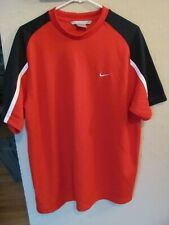 Mens Large Nike Red W/Dark Blue & White Athletic Polyester Short Sleeve Shirt Ec