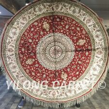 Yilong 6'x6' Red Circle Hand Knotted Silk Carpet Great  Handwork Round Rug W123C