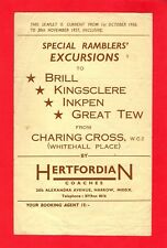 Leaflet ~ Hertfordian Coaches of Harrow - Ramblers Excursions from London - 1956