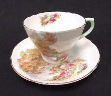 "Shelley Bone China Tea Cup & Saucer ""Heather"" w/ Gold Trim Green Handle Y464"