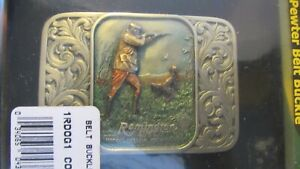 NEW NOS VINTAGE 2002 REMINGTON UMC FIREARMS BIRD HUNTING SCENE GUN PEWTER BUCKLE