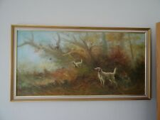 Large oil painting with hunting scene dogs partridges