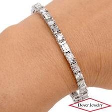Estate 9.60ct Diamond 14K White Gold Link Tennis Bracelet 19.3 Grams NR