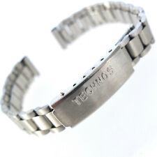 11mm TECHNOS SATIN FINISH STAINLESS STEEL WATCH BRACELET ADJUSTABLE CLASP.