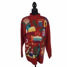 Karen Scott RARE Hand Knit Pasta Food Theme Oversized Red Sweater Women's Large