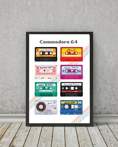 RETRO GAMING art print - wall poster ZX Spectrum, C64 commodore gift wall decor