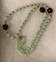 Vtg Jade & 14k Gold Bead Necklace