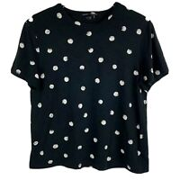 Proenza Schouler Womens Top Small Black Polka Dot Cotton Short Sleeve T Shirt