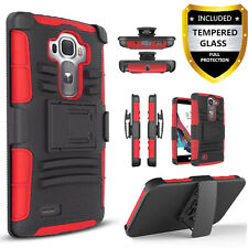For LG G4 Phone Case, Dual Layers Belt Clip Combo+ Tempered Glass Protector