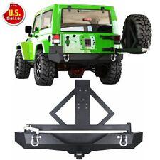 For 2007-2018 Jeep Wrangler JK Rear Bumper &Tire Carrier Rock Crawler D-rings HL