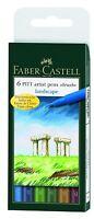 Faber Castell Pitt Artist Pens Landscape Colors Set 6 Markers Brush Tip