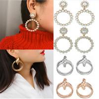 Fashion Women Crystal Pearl Circle Statement Drop Earrings Dangle Wedding Gift