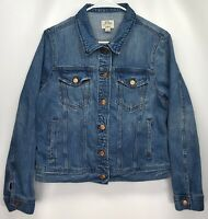 Womens LARGE - J. Crew Classic Faded Blue Denim Trucker Jean Jacket Button Front