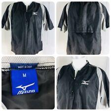 Mizuno Sz M Baseball Golf Short Sleeve Black 1/4 Zip Pullover Jacket Windbreaker